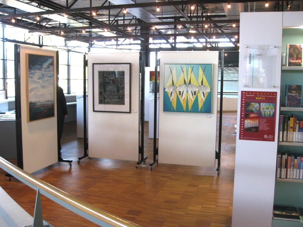 Monica maat expositie kup 11 bibliotheek dronten via de kunstraad dronten op thema water - Muur bibliotheek ...